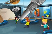A vector illustration of happy kids on field trip to a planetarium poster