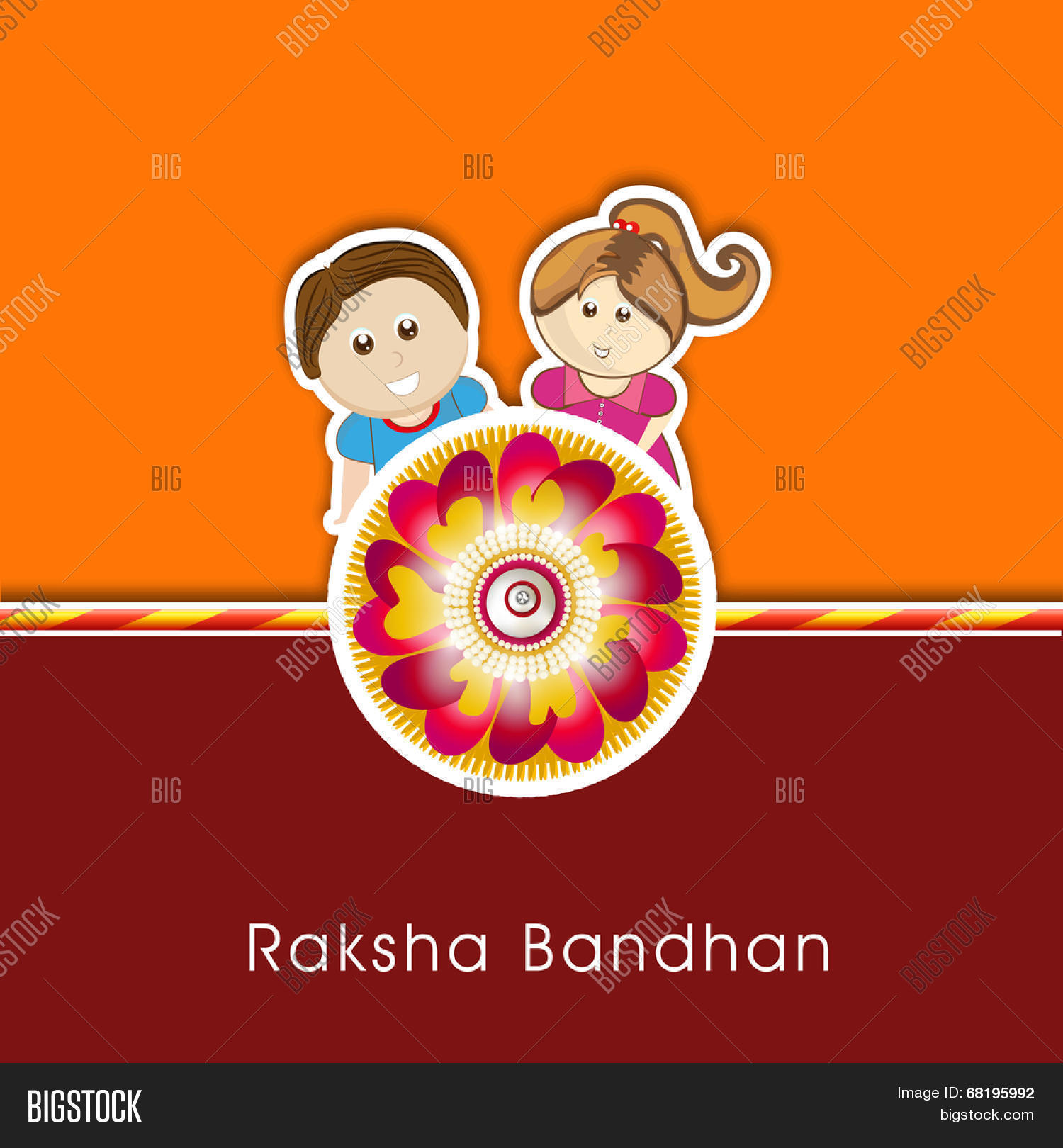 Raksha bandhan celebrations vector photo bigstock raksha bandhan celebrations greeting card design with rakhi and cute little brother and sister on orange kristyandbryce Image collections