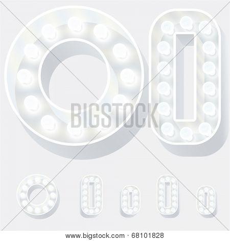 Vector illustration of unusual white lamp alphabet for light board. Letter o
