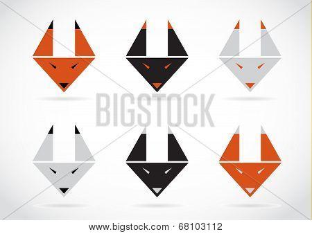 Vector Fox Face Icons Set