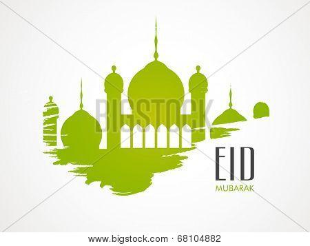 Stylish green mosque on grey background for Muslim community festival Eid Mubarak celebrations.