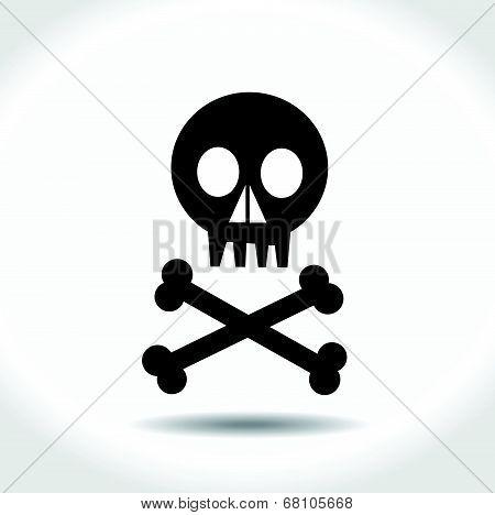 Black vector skull with crossed bones