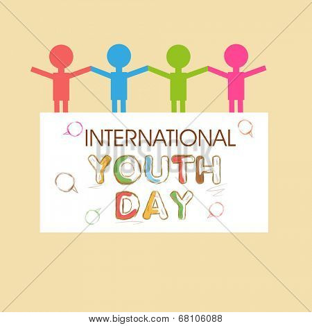 Stylish poster, banner or flyer design with colorful human silhouette joining hands together on beige background for International Youth Day.