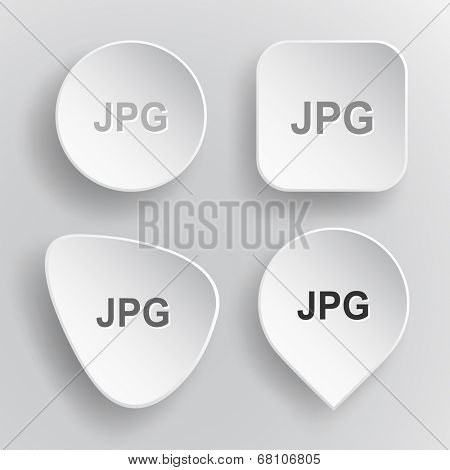 Jpg. White flat vector buttons on gray background.