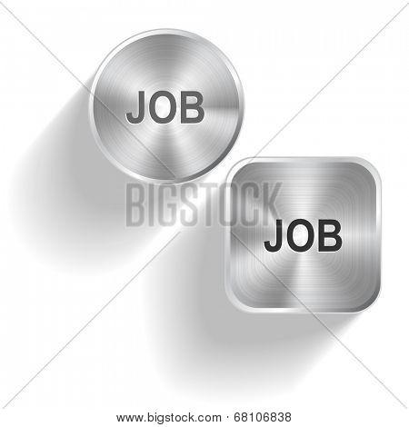 Job. Vector set steel buttons