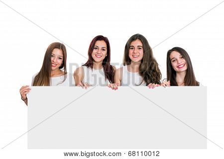 Group Of Girlfriends Holding White Board