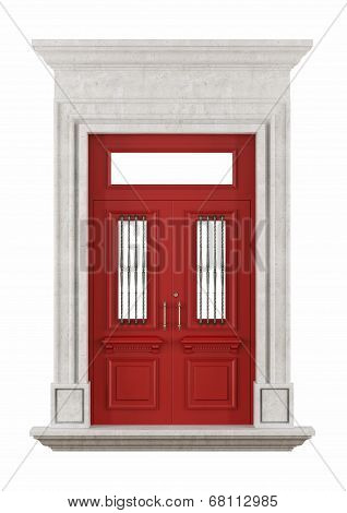Stone Portal With Red Front Door