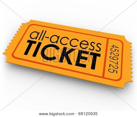 All Access Ticket words orange pass special, exclusive, unlimited admission to rides