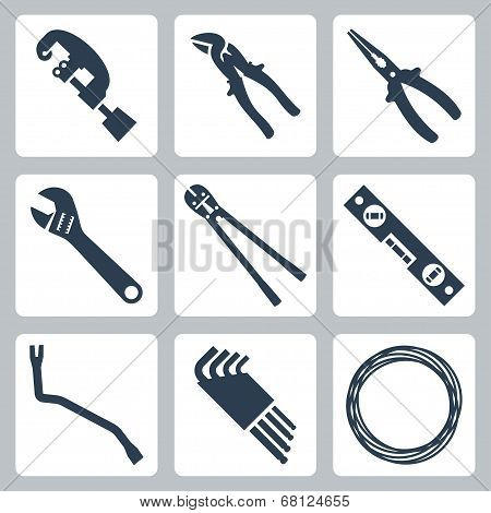 Hand Tools Vector Icons Set