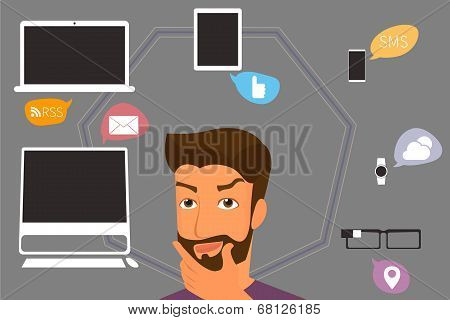 Brunette man thinking about gadgets and applications around him