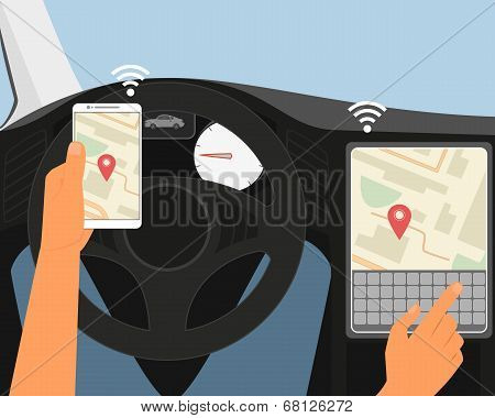 Multiscreen interaction. Synchronization of smartphone and smartcar