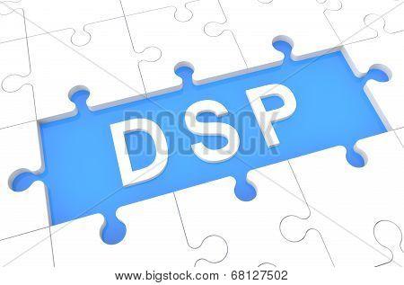 DSP - Demand Side Platform - puzzle 3d render illustration with word on blue background poster