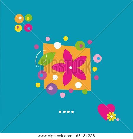 cute flower heart and dots greeting card