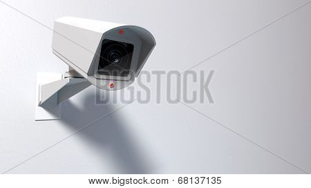 Surveillance Camera On White