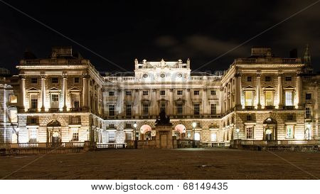 Illuminated Somerset House At Night