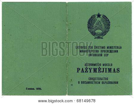 green old USSR school leaving certificate