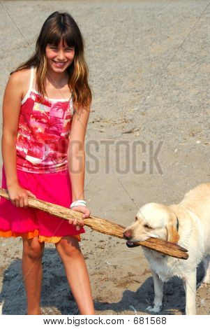 Young pretty girl playing with a dog on a beach poster