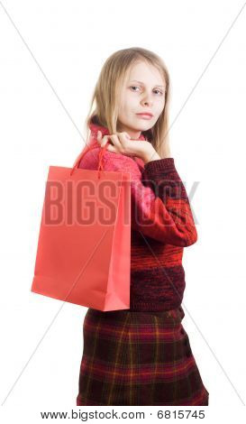 Cute woman with shopping bag