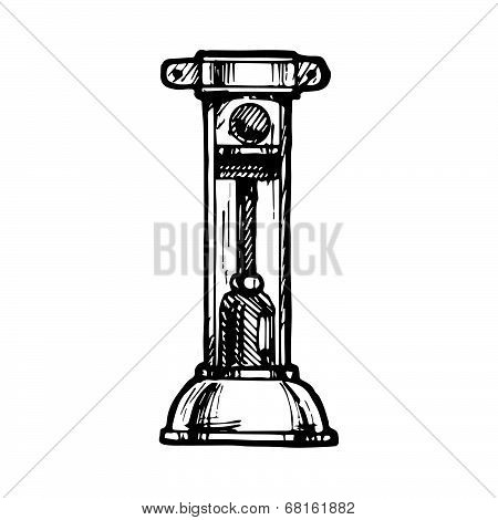 Steampunk letter made of different technical pieces: pipes blocks screws etc. Stylized as engraving. Letter I. poster
