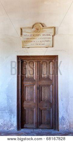 Washington Irving Plaque Door Alhambra Wall Granada Andalusia Spain