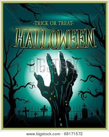 Zombie monster hand green Halloween invitation background