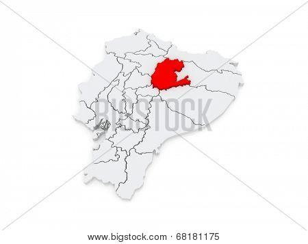 Map of Napo. Ecuador. 3d