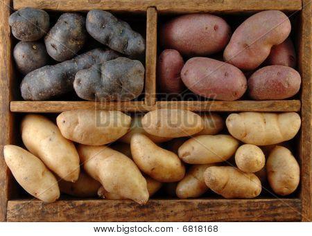 Wooden Box Of Potatoes