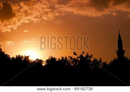Minaret Silhouette On Sunset
