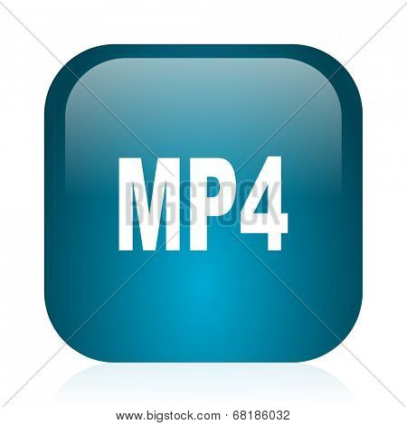 mp4 blue glossy internet icon
