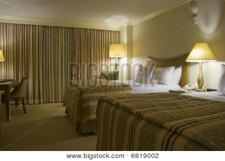 Two Beds Bedroom With Three Lamps