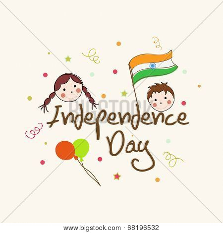 Kiddish greeting card design for Independence Day celebrations with balloons, flag and kids face on abstract background.