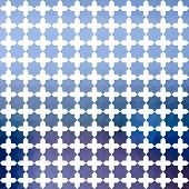 Blue defocused background with white geometric ornament poster