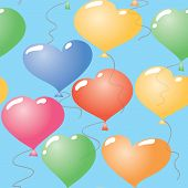 Valentine's day abstract seamless background with balloons heart-form. Vector illustration. poster