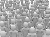 Crowd of uniform people. 3d rendered illustration. poster