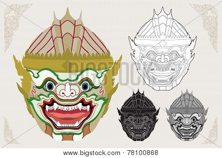 Hanuman Head Vector Illustration