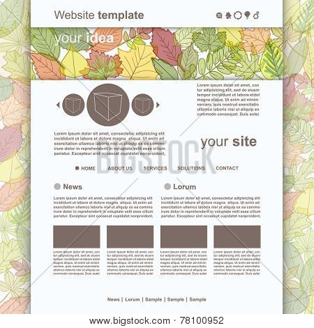 Web Site Design Template with autumn leafs, vector