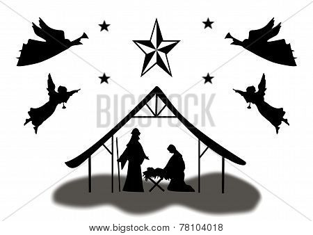 Silhouette Christmas Manger Scene With Angels