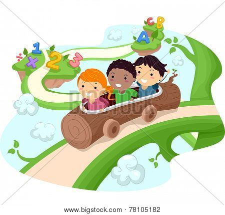 Illustration of Kids Riding a Hollow Log Down a Giant Vine