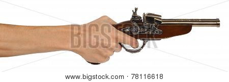 Old Musket Gun In Male Hand