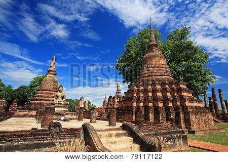 Ancient Pagodas At Wat Mahathat, Thailand