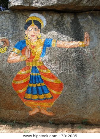 Stone Painting Of Nautch Dancing Girl