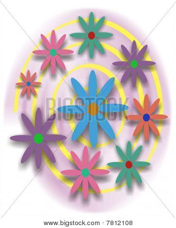 Swirl of Retro Flowers