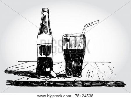 Bottle of Soda on the Table Hand Drawn