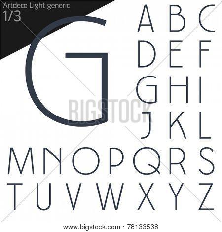Vector illustration of generic font. Art deco style