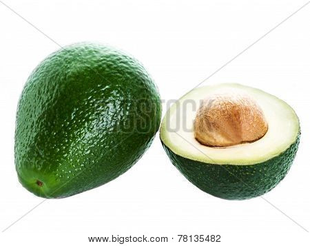 Fresh Avocado slice and whole ripe green avocado fruit isolated on a white background. Whole and half avocados macro poster
