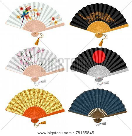 Decorative folding fan set for man and woman. Vector illustration. Isolated on white background.