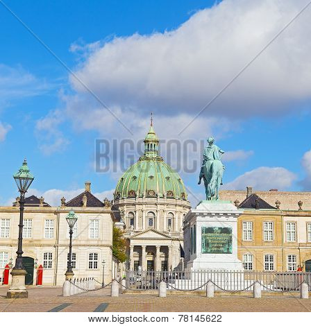 Amalienborg Palaces the winter home of the the Danish royal family and Frederik's Church are famous for their rococo architecture. poster