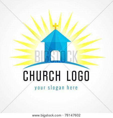 Church in sun light vector logo. Missionary stained-glass icon. Template symbol for churches, events and christian organizations. Church house on hill blue facet sign.