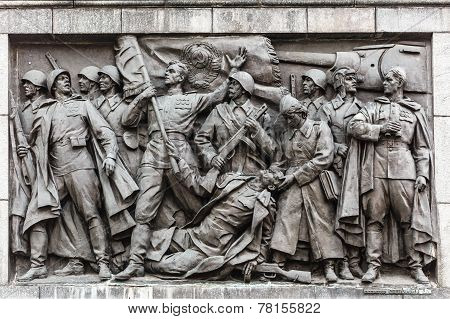 Bas-relief Scenes On The Wall Of The Stele Dedicated To The Memory Of The Great Patriotic War