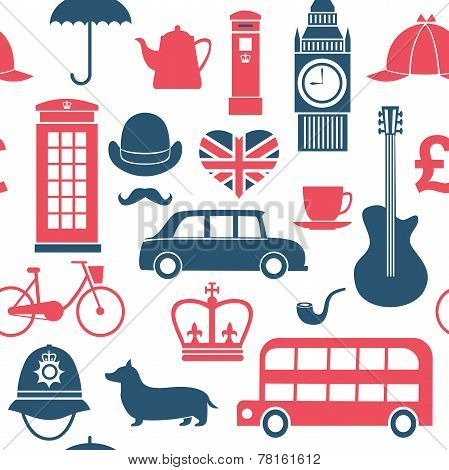 British Symbols Seamless Pattern